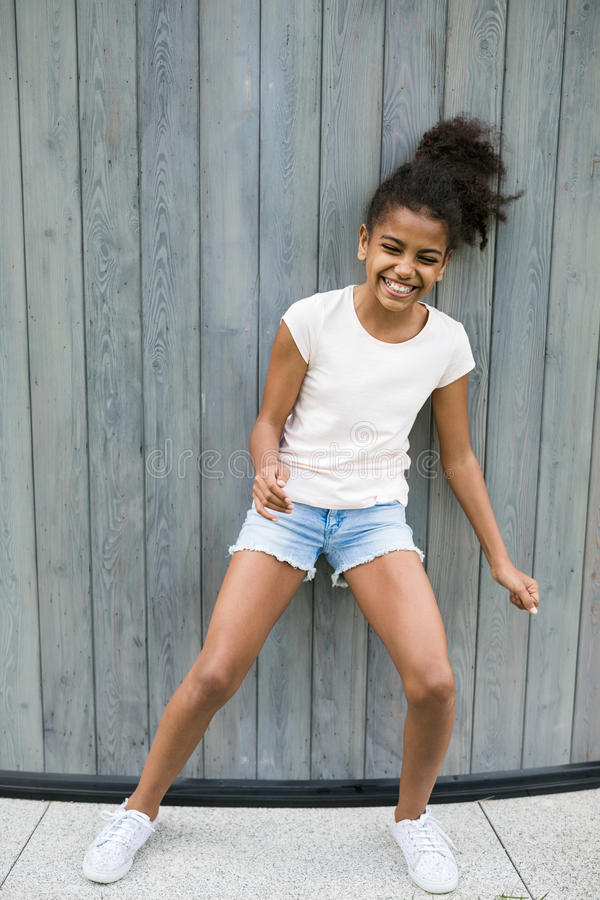 Full length shot on laughing girl royalty free stock images