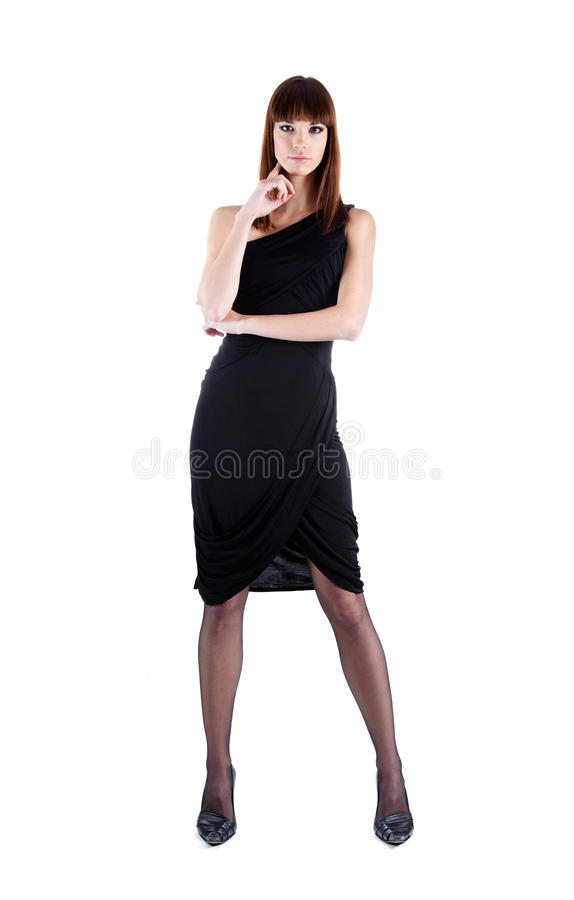 Full length shot of woman in evening dress. Isolated on white background royalty free stock photography