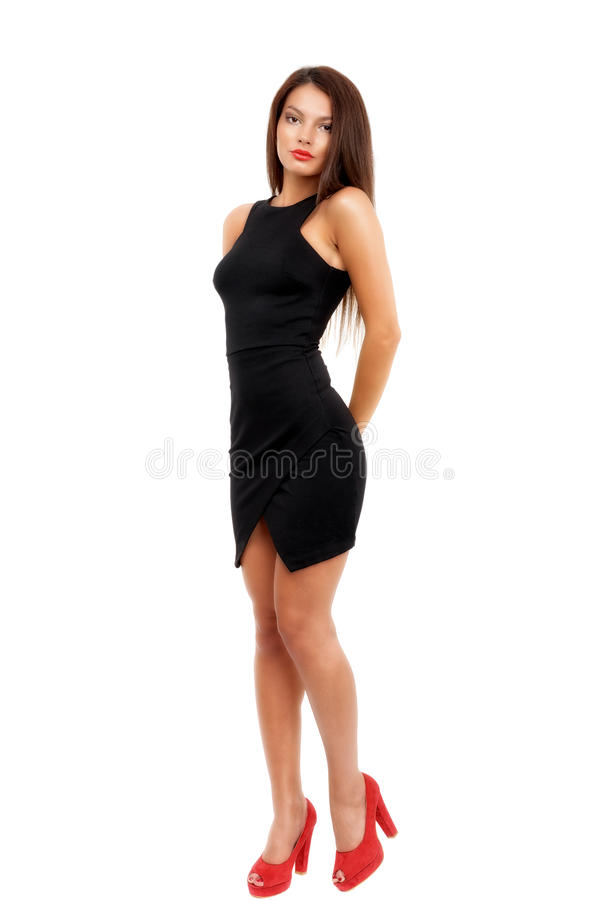 Full length shot of woman in evening dress, isolated on whi. Te background stock photos