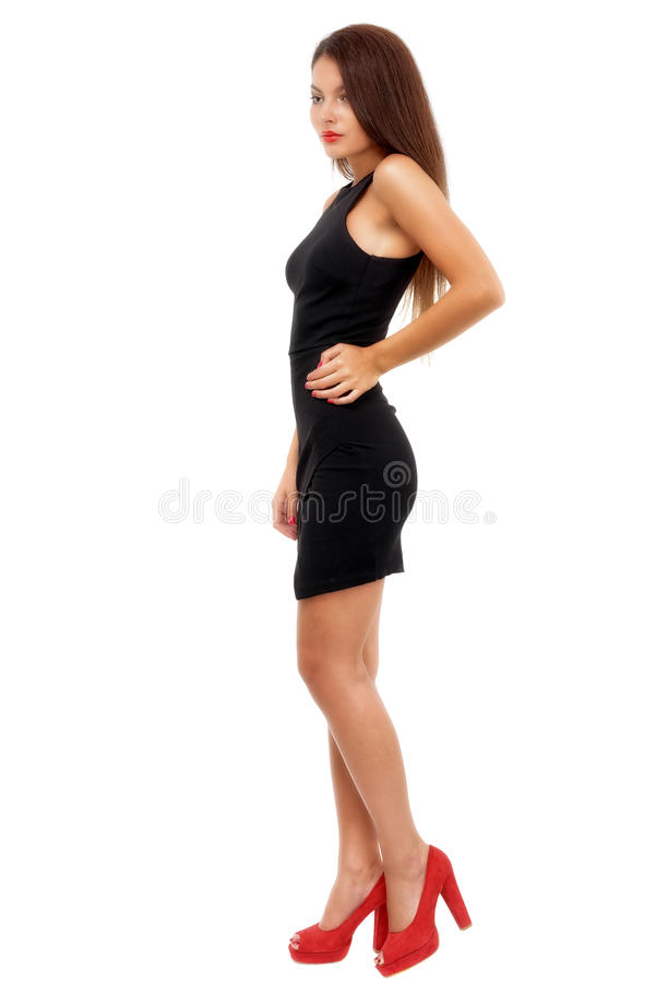 Full length shot of woman in evening dress, isolated on whi. Te background royalty free stock photography