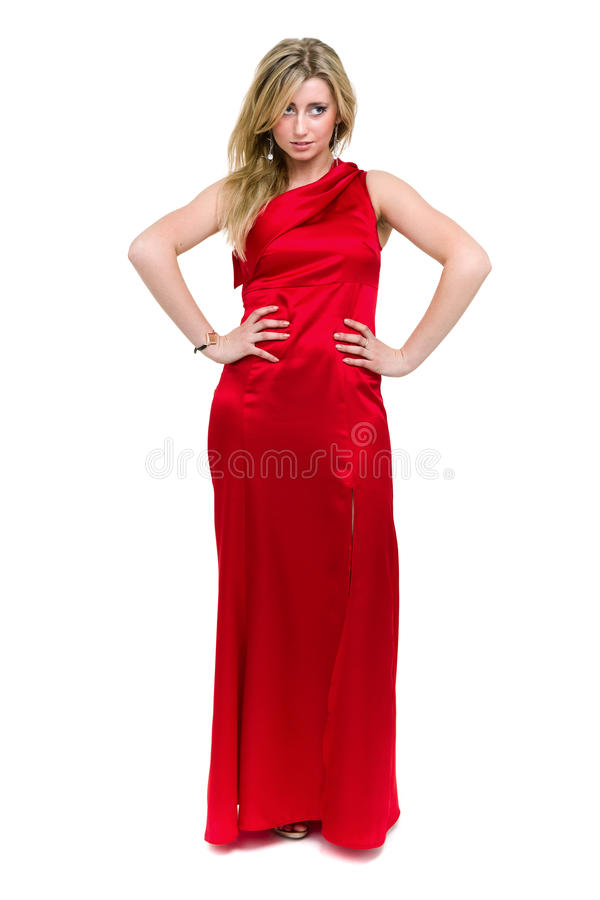 Full length shot of woman in red dress, isolated on white royalty free stock photography