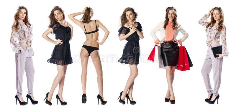 Full length shot of women. Collage, Full length shot of women, isolated on white background royalty free stock photo