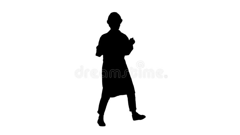 Silhouette Engineer woman dancing in funny way. stock illustration