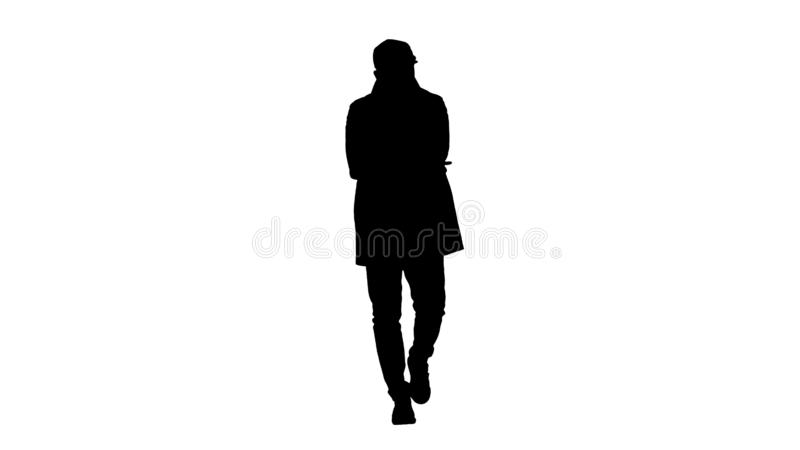 Silhouette Handsome, attractive, glad, positive in fashinable clothes having a great idea. Bingo. stock illustration