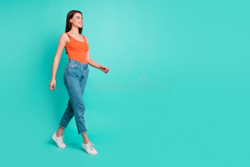 Full length side profile body size photo beautiful her she lady wondered look empty space weekend walking park wear stock photography