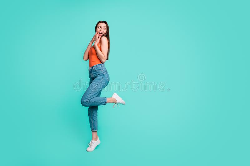 Full length side profile body size photo beautiful her she lady wondered sincere easy-going weekend mood excited wear royalty free stock photo