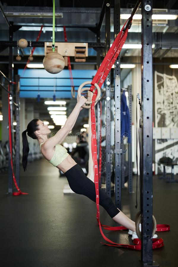 Sportswoman Working Out in Gym stock photo