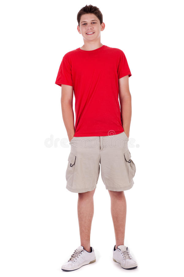 Full length of smiling young boy in casual wear stock photo