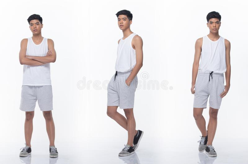 Full Length Snap Figure of Teenager Asian man. Collage pack group of Asian Teenager man express many acting posing in full length snap body. Studio lighting royalty free stock photos