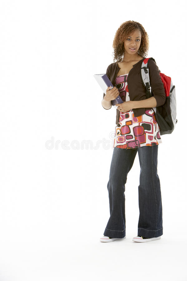Full Length Studio Portrait Of Female Teenage Stud. Ent standing stock images