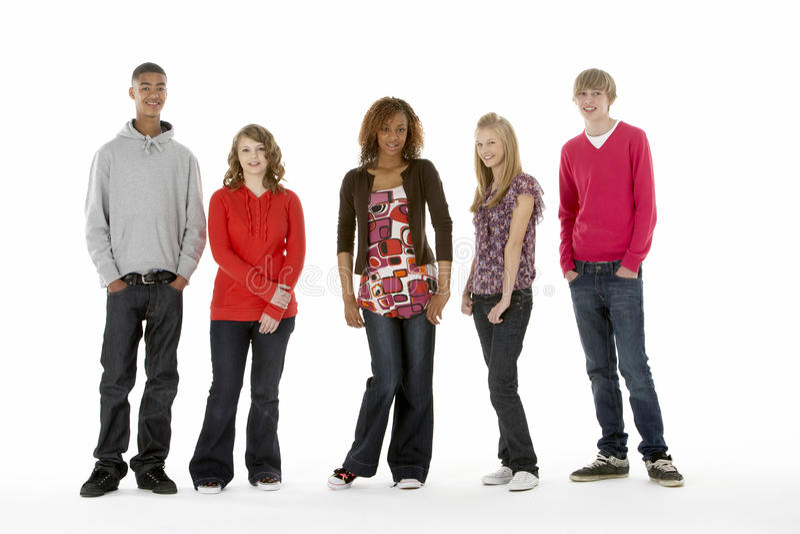 Full Length Studio Portrait Of Five Teenage Friend stock photos