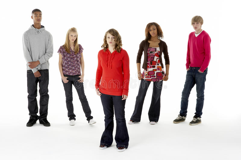 Full Length Studio Portrait Of Five Teenage Friend royalty free stock photo