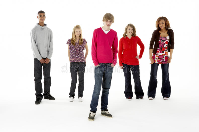 Full Length Studio Portrait Of Five Teenage Friend stock photos