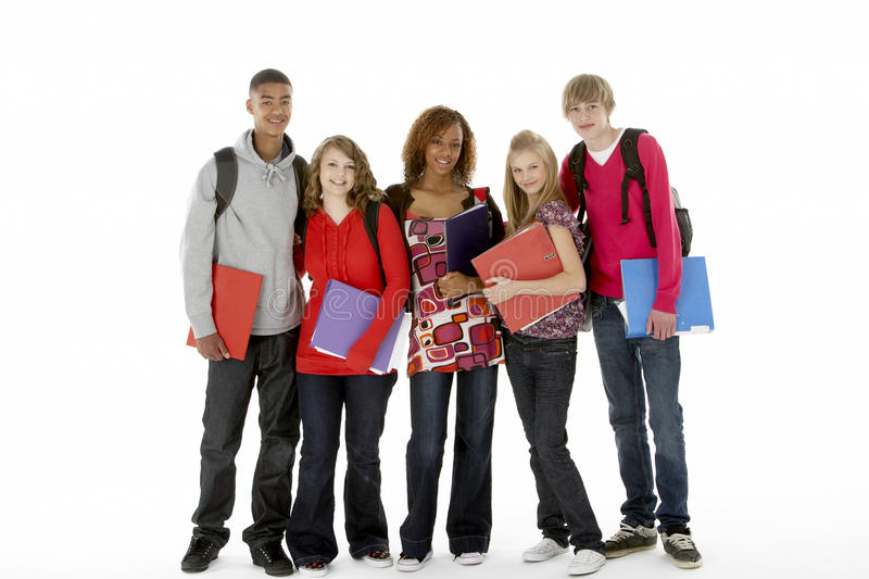 Full Length Studio Portrait Of Five Teenage Studen. Ts smiling stock photography