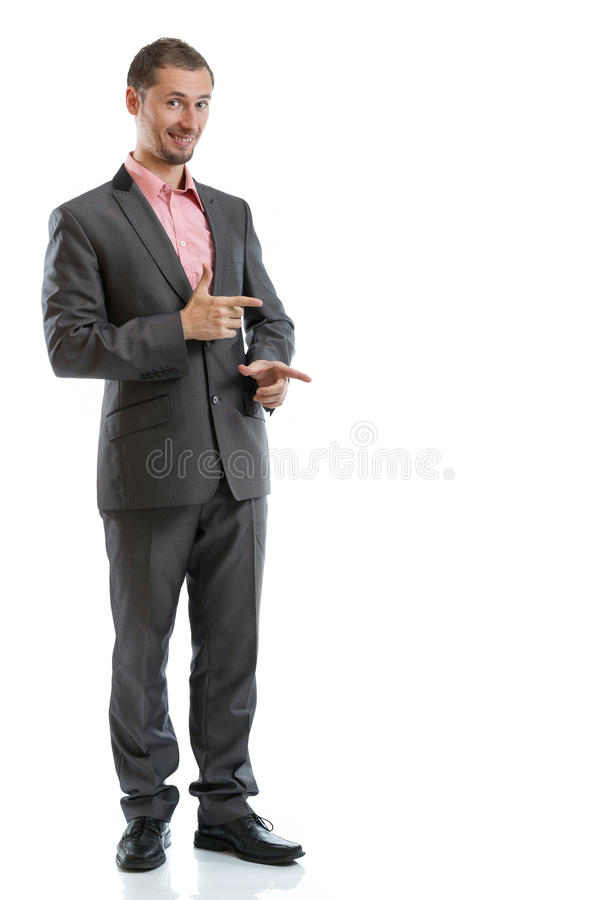 Full length suit tie businessman pointing stock photography
