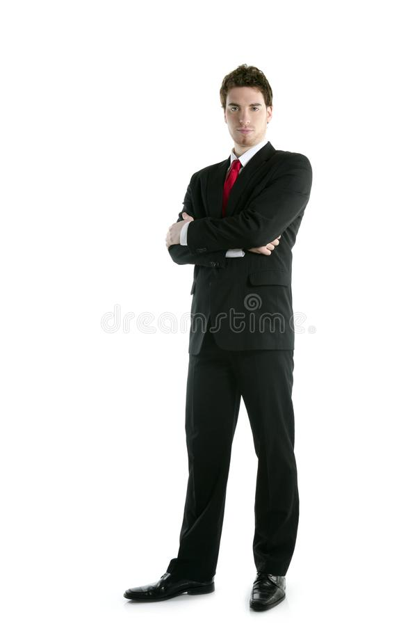 Full length suit tie businessman posing stand stock photo