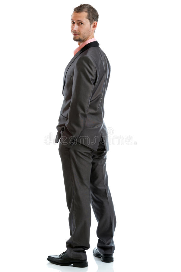 Full length suit tie businessman standing royalty free stock photos