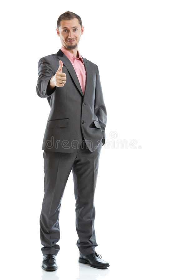 Full length suit tie businessman stock image