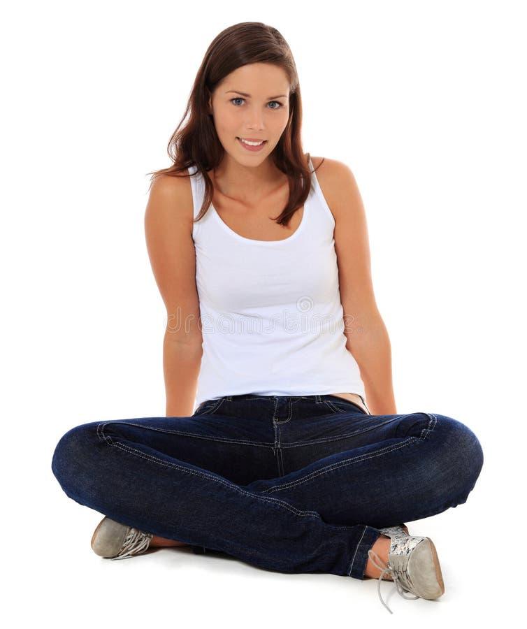 Download Full Length Teenage Girl Sitting On The Floor Stock Photo - Image: 22112912