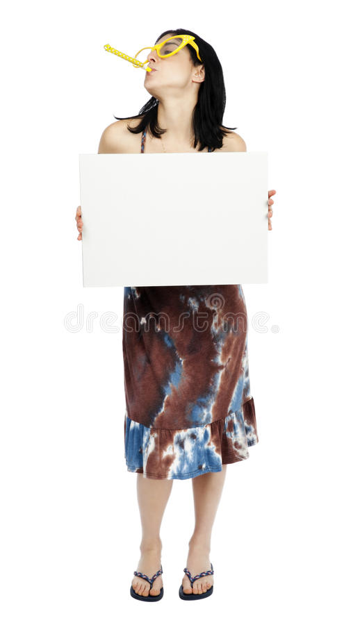 Download Party Girl Holding Sign stock image. Image of funky, blowing - 30080437