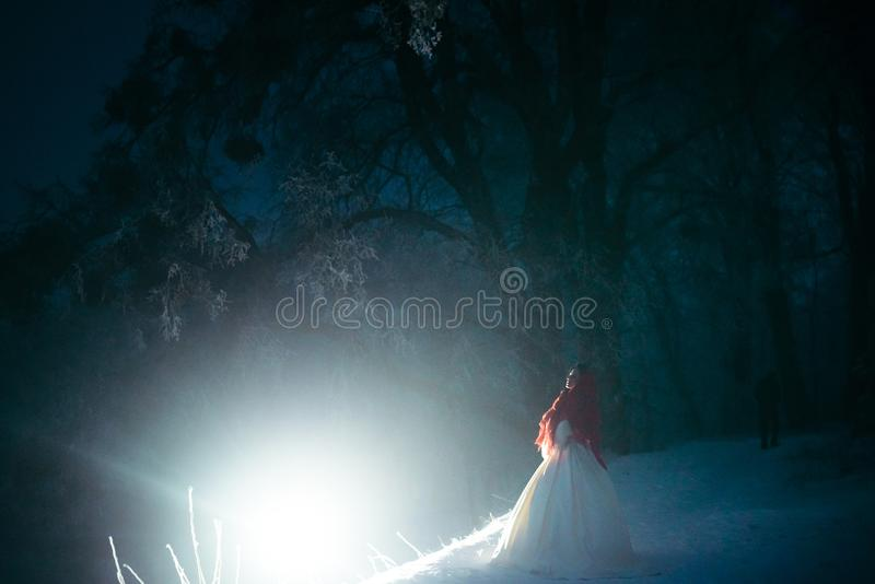 The full-length view of the beautiful bride covered in red knitted scarf and standing near the white light at the night. Snowy forest stock image