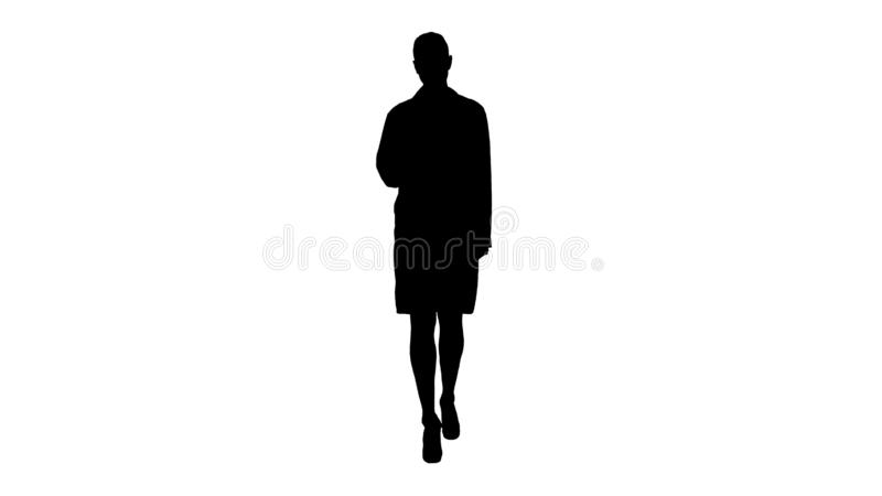 Silhouette Therapist doctor woman going straight. stock illustration