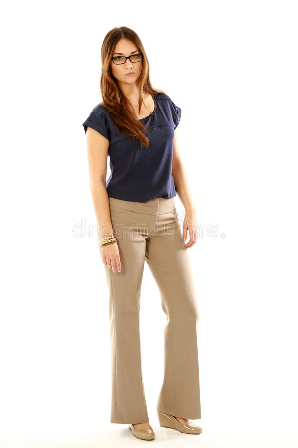 Download Full-length Of Woman In Glasses Stock Photo - Image: 27914490