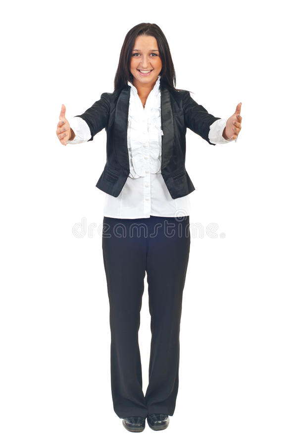 Full length of woman with open hands royalty free stock image