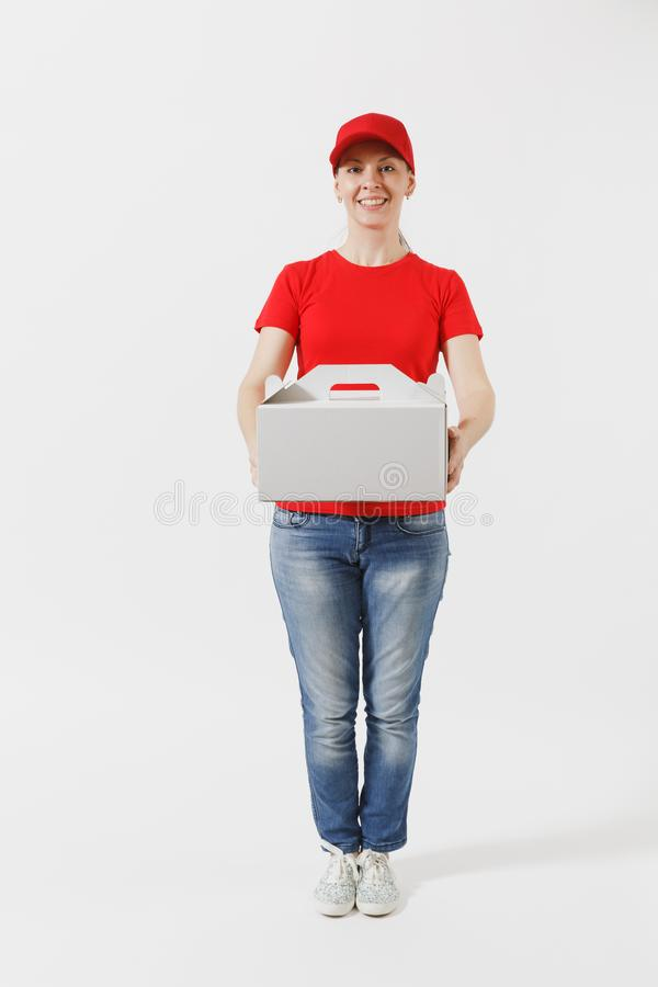 Full length of woman in red cap, t-shirt giving food order cake box isolated on white background. Female courier holding. Dessert in unmarked cardboard box stock photos