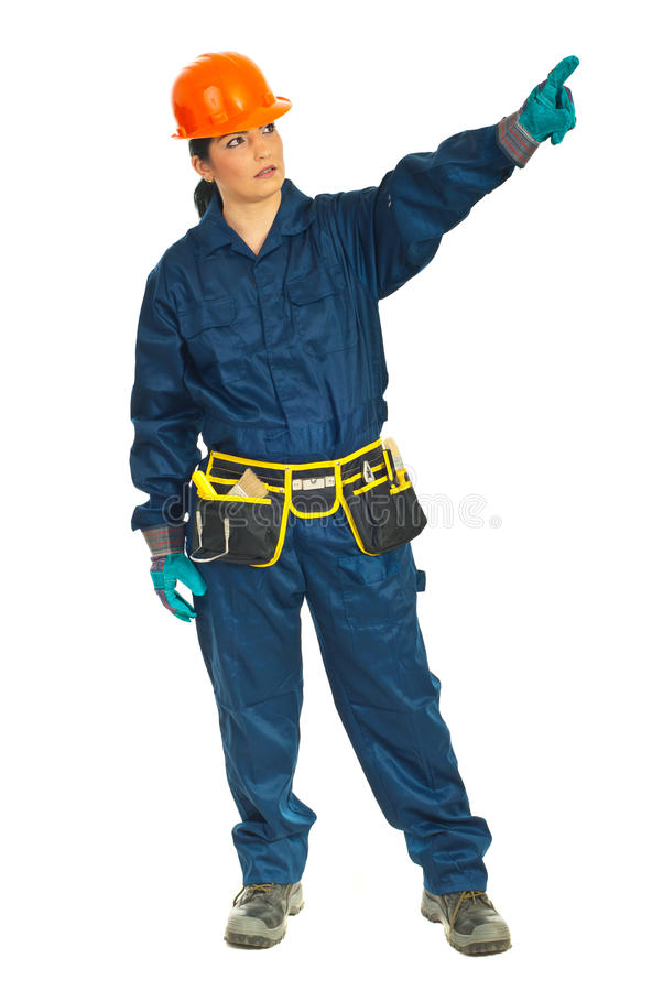 Full Length Of Worker Woman Pointing Royalty Free Stock Photography