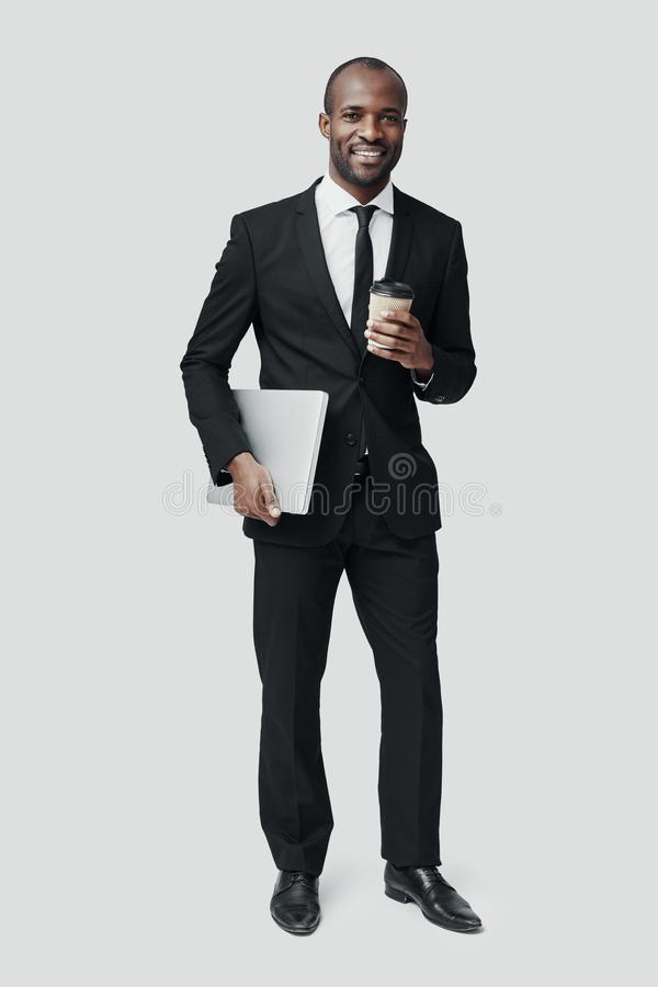 Full length of young African man in formalwear royalty free stock photos