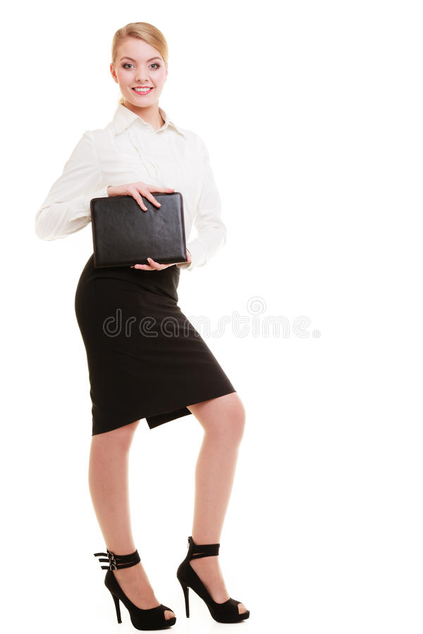Full length of young businesswoman showing document case. Full length of businesswoman showing document case. Elegant young woman blond girl with briefcase royalty free stock photos