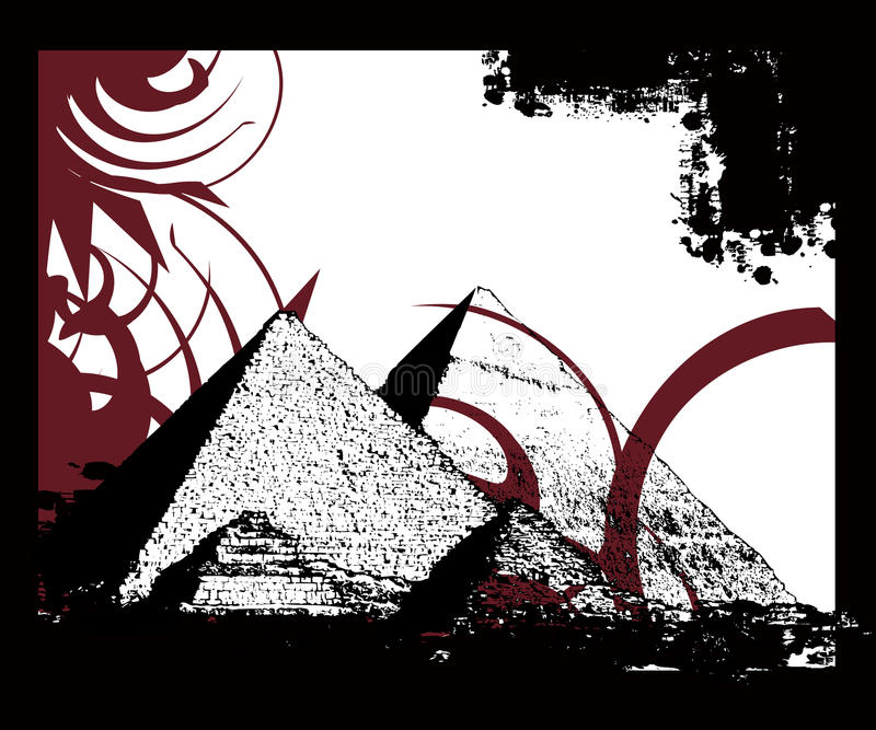 Full of life 600. Simple Illustration for Egyptian pyramids and historical background stock illustration