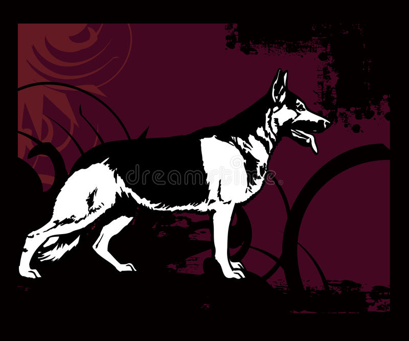 Full of life a40. German shepherd, police dog with colored swirl background stock illustration