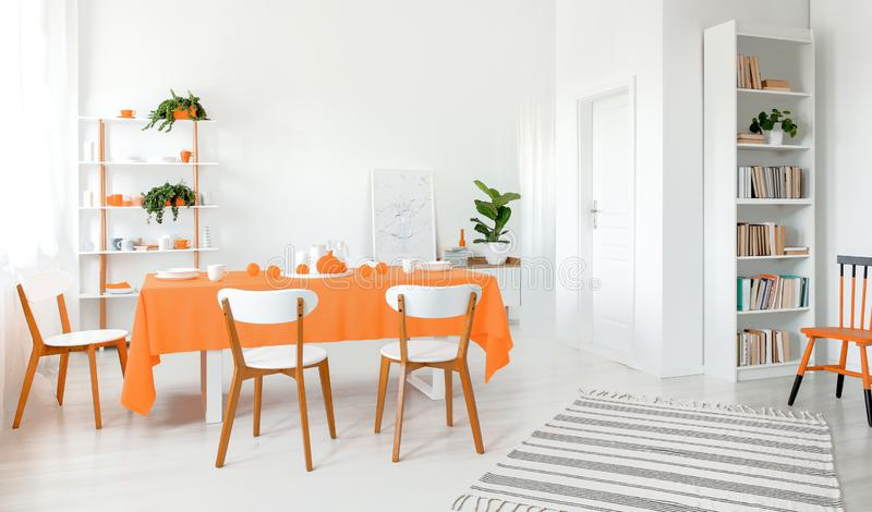Full of light dining room with white walls floor and furniture. Shelf with lot of books and plant in the corner. Next to a door royalty free stock image