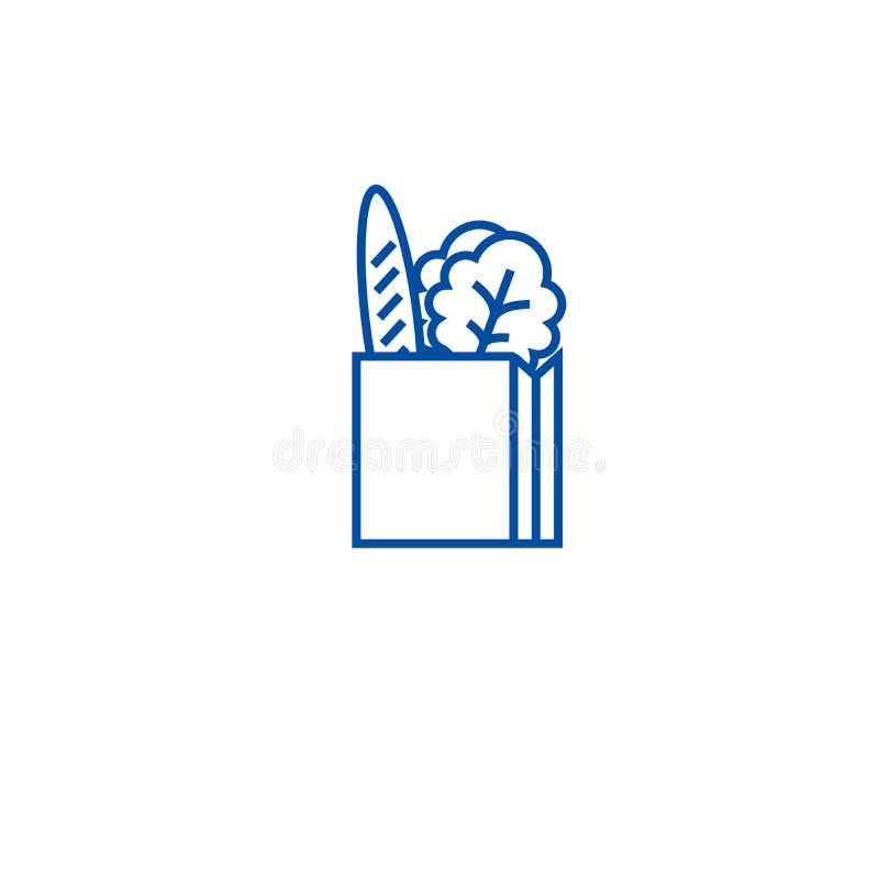 Full linje symbolsbegrepp för produktpapperspåse Fullt symbol för vektor för produktpapperspåse plant, tecken, översiktsillustrat vektor illustrationer
