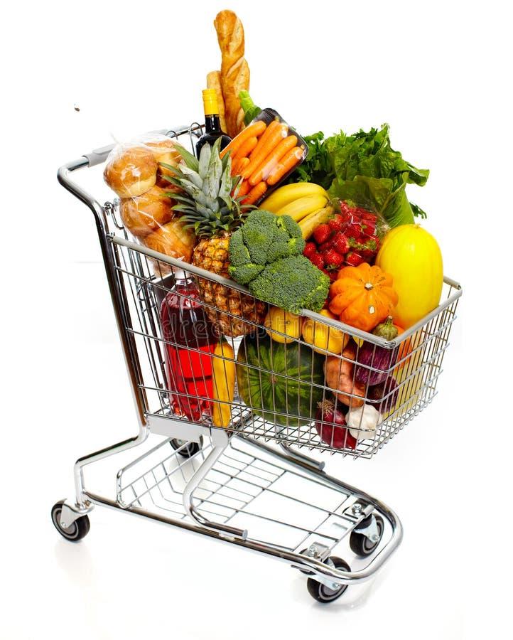 Full livsmedelsbutikvagn royaltyfri fotografi