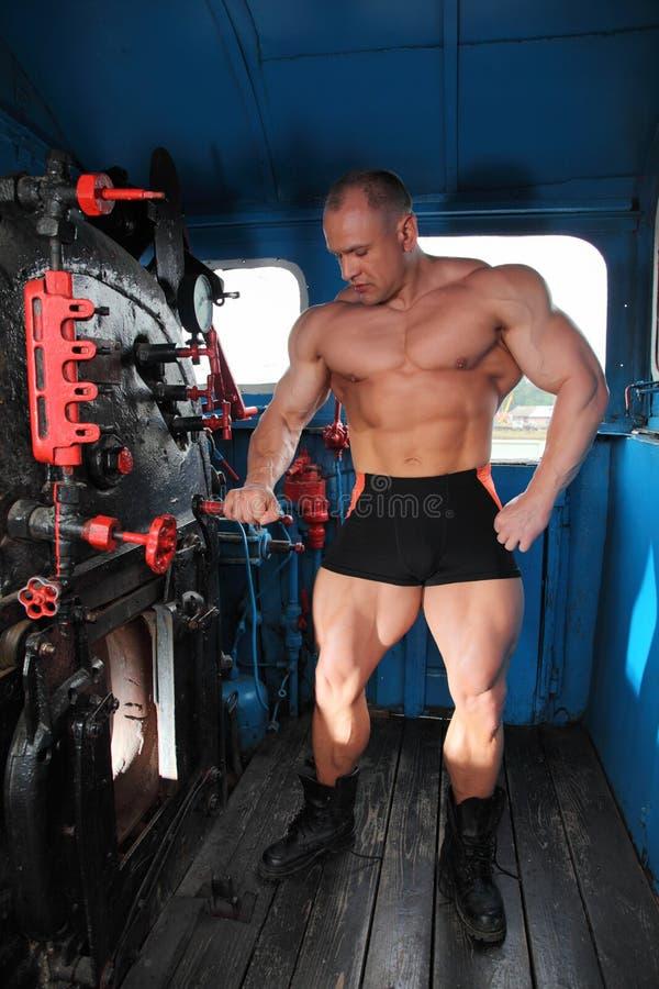 full lokomotiv för idrottsman nenhuvuddelkabin arkivfoto