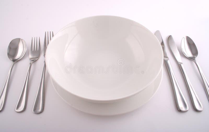 Full meal setting stock photos