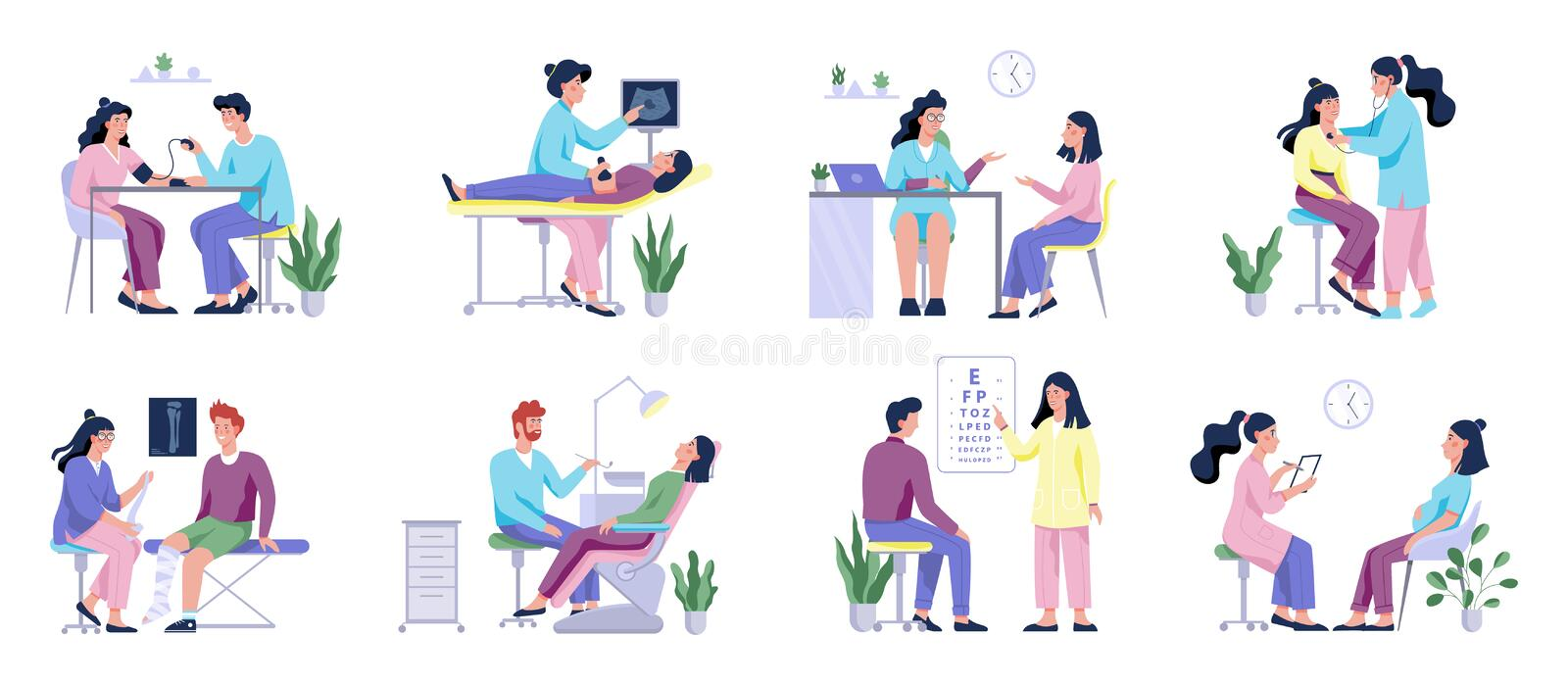 Full medical checkup set with patient and doctors. Idea of healthcare. Ophthalmologist and dentist, surgeon and ultrasound. Isolated flat illustration royalty free illustration