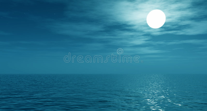 Full monn. Full moon over the sea stock image