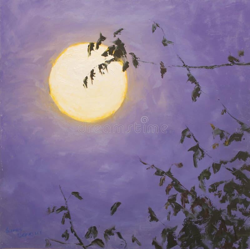 Download Full Moon stock illustration. Image of tree, violet, moon - 14248114