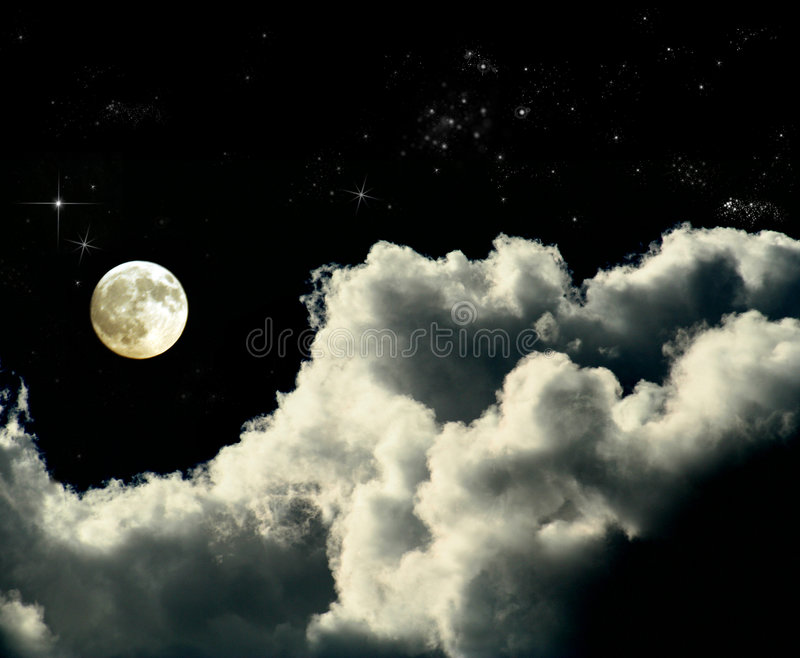 Full moon. Is ina deep sky full of clouds, copy space for messages