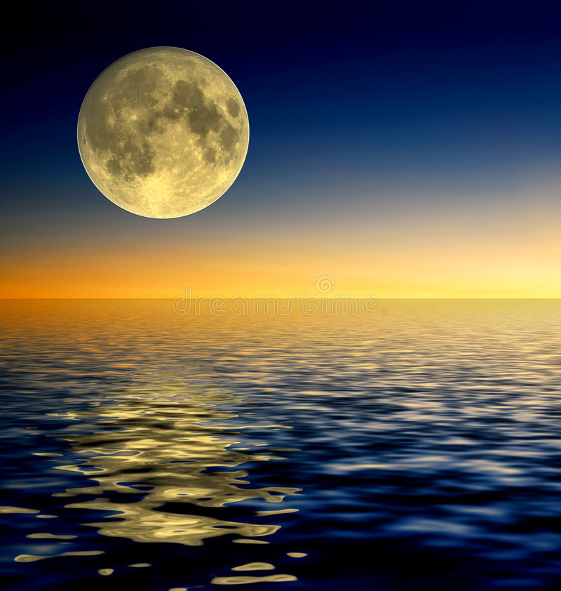 Full moon. On water reflection stock illustration