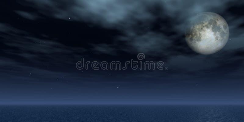Full moon. And stars over the ocean - 3d illustration stock illustration