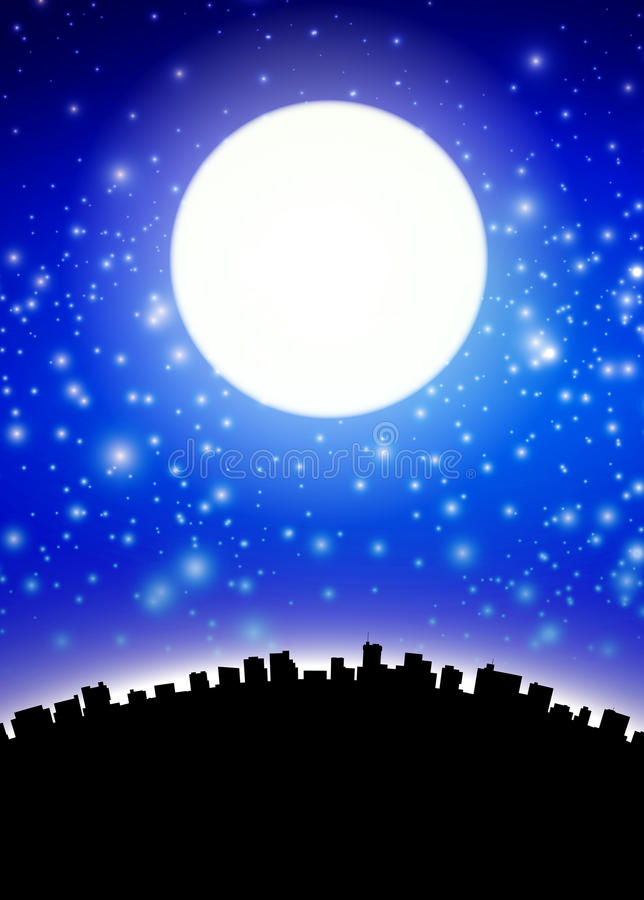 Full moon above city. Silhouette royalty free illustration