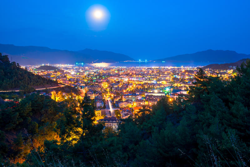 Full moon above the spa town. Of the Aegean Sea royalty free stock photos