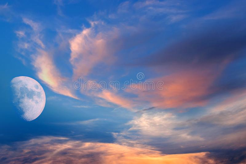 Full moon background .  landscape . eclipse of the moon royalty free stock images