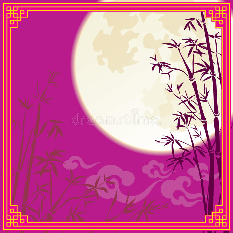 Full moon and bamboo silhouette design royalty free illustration