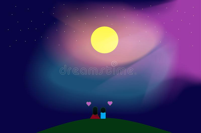 Landscape Night Moon Galaxy Nature for Background stock photo
